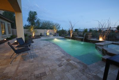 Now we're talkin'.  Heated pool, spa and fire pit for loads of fun and memories.