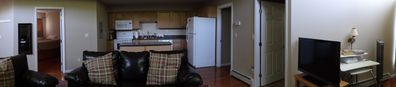 Panaromic of open kitchen into living space