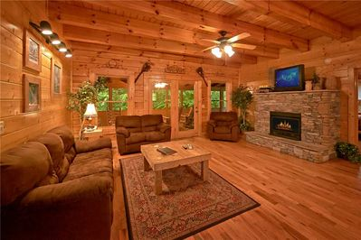 Rushing Water Lodge - Living Room with Fireplace