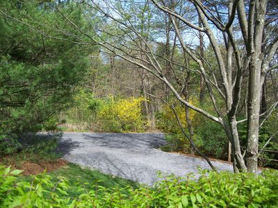 Boat parking pad off Parks Road.  View from house