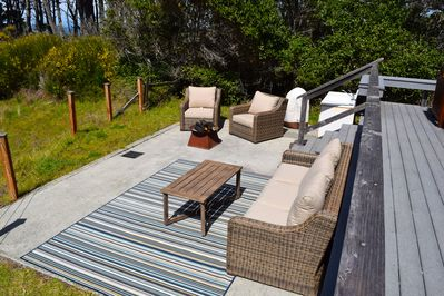 Furnished view deck with grill and fire pit