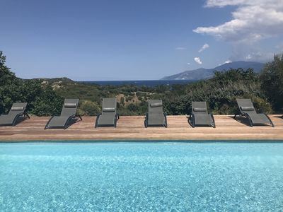 Photo for Saint Florent: exceptional sea and scrub views, private pool, beach walk
