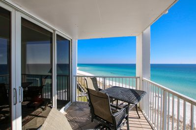 Balcony allows 180 degree views while listening to the  waves. (looking east)