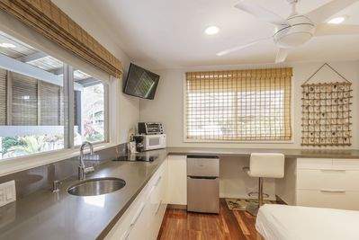 Kitchenette with Sink, Two Burners, Toaster oven and Microwave