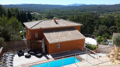 Photo for New detached villa, 9 pers, Heated pool, Stunning views, quiet