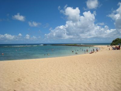 Turtle bay beach just a short walk or drive away! There is also a restaurant !