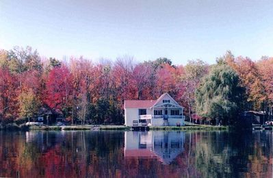Photo for Poconos Lakefront with PRIVATE BEACH.