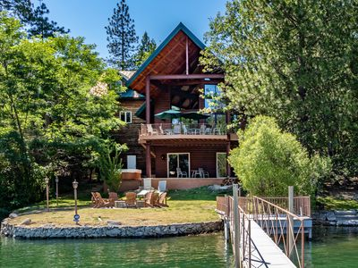 Photo for Luxury Lake House with Private Boat Dock — Large Family home near Yosemite