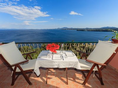 Photo for Vill Pergola Elli, holiday apartment in Corfu, Greece with stunning sea view!