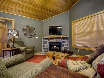 Spacious great room with vaulted ceilings.