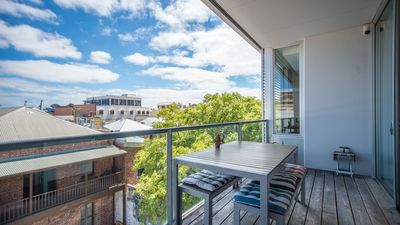 Large north facing balcony with sliding louvres