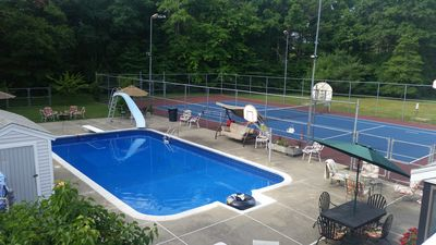 Heated pool and courts.