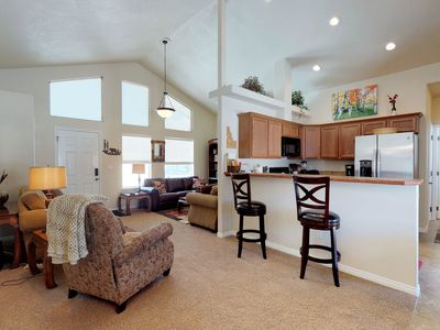 Photo for Warm cozy lodge features central location by skiing, golfing, lake, & more!