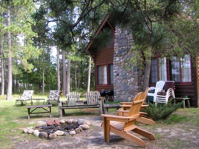 Photo for Whitefish Chain, Vintage Log Cabin, Private, Fireplace/Loft, Sleeps 8