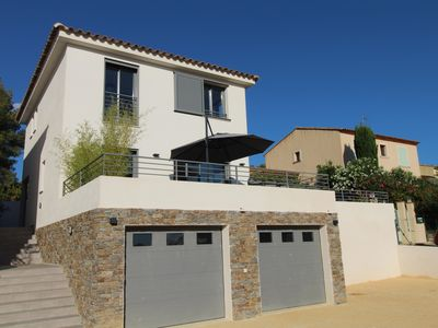Photo for New holiday villa with swimming pool with superb views of the sea and the village