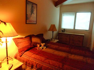 Bedroom, comfy queen bed. Just updated with new pillows, bedding & NEW DTV!