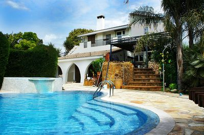 Front View of the accommodation with pool