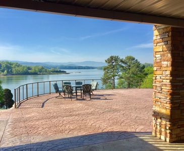 View the main channel and Mt LaConte while dinning on the 2,000+ sf patio