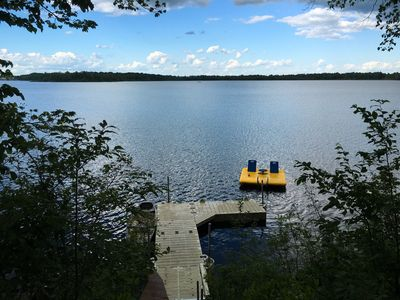 View of lake from top of stairs.