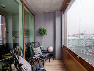 Photo for Salka suites, new stylish apartment downtown, 2 bedrooms, 2 bathrooms., balcony.