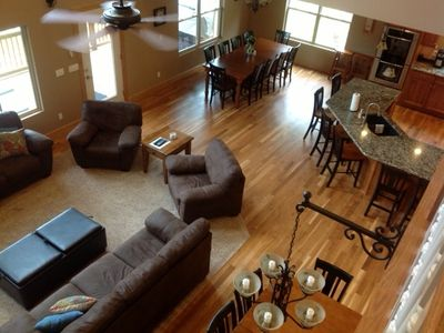 Photo for 'Rockwater' Huge Great Room, Covered Dock, Hot Tub, Billiards, More...