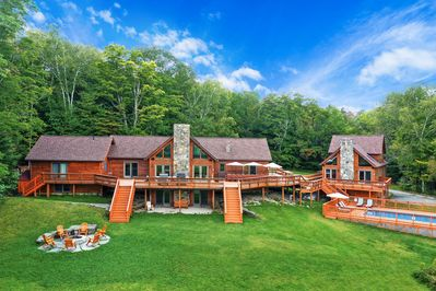 An amazing Vermont estate with 13 bedrooms, a pool, hot tub, sauna, game room!
