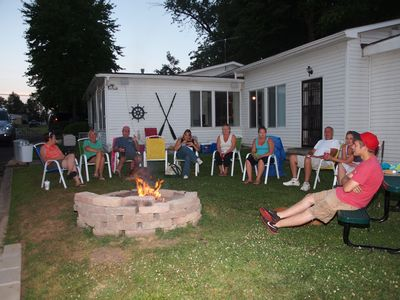 Family gathered around the Fire Pit!