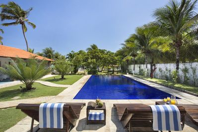 Private pool with sun loungers and towels provided