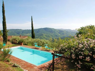 Photo for Private Villa with WIFI, private pool, TV, terrace, washing machine, panoramic view, close to Lucca