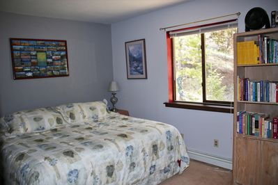 King Size Bed, last bedroom on the right end of hallway.  Fresh coat of paint