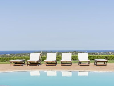 Photo for Sea View apartment,5 minutes from the beach, pool, free wifi. BBQ