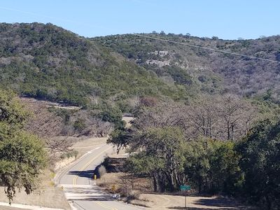 View coming from Leakey to the cabins.  Cabins are on the right in the valley.