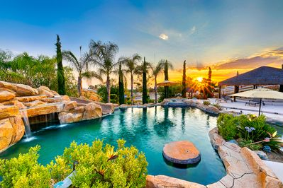 Beautiful wine country resort style pool with lagoon and waterfall