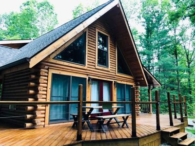 Photo for Brand new, secluded log cabin