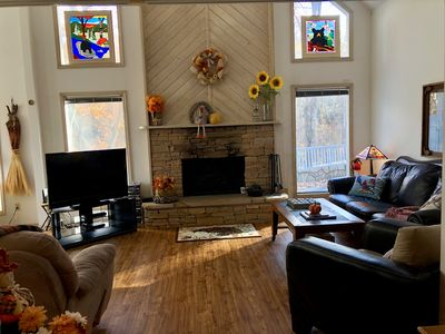 "Great Room with Stained Glass Windows & 50"" HD TV"