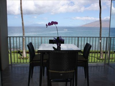 FULL Ocean View from the lanai and Master Bedroom, 4 seat patio table