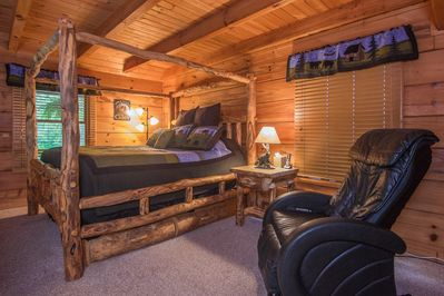 Master Suite With A Very Comfy Aspen King Canopy Bed & A Full Size Massage Chair