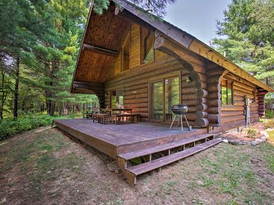 Photo for Secluded Log Cabin in NW Michigan w/Fire Pit & Deck