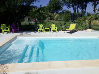 Photo for new single storey house: 2 bedrooms, swimming pool, 20mn sea and 10mn Spain near cure