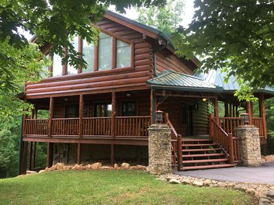 Photo for Luxury Cabin, 4 BD/4BA Suites,Half Bath, Game RM, Media RM, Fireplaces, Hot Tub