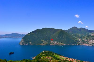 Our holiday home (red marker), seen from the world famous Monte Isola