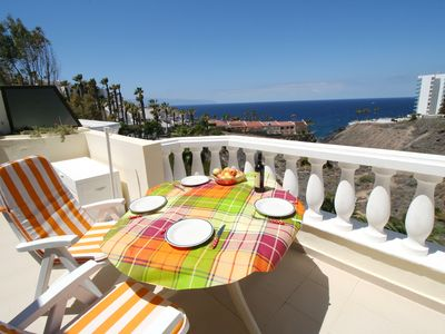 Photo for Los Gigantes, 1 bed apartment (sleeps 4) with large sea view terrace