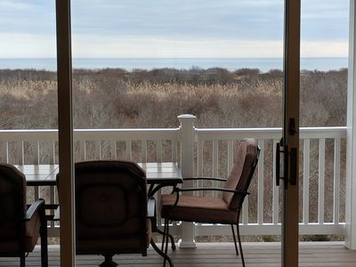 View from 2nd floor balcony. The stunning views will never disappoint! Sunrise is particularly special as you watch the sun break over Brigantine Beach.