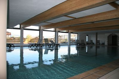 Indoor heated swimming pool is accessed by lift