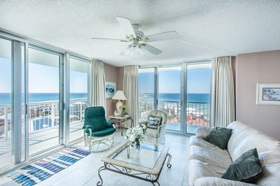 Tristan Towers 9B - -picture taken 10-26-16 -9th floor corner condo -Living Room -View of Santa Rosa Sound and Gulf of Mexico