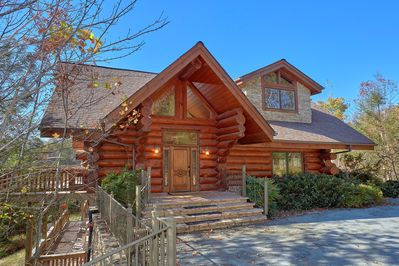 Buck & Bear Lodge welcomes you with a grand entrance and plenty of parking.