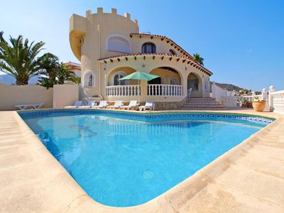 Photo for This 7-bedroom villa for up to 15 guests is located in Calpe and has a private swimming pool, air-co