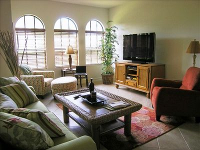 """Family Room Area with 52"""" HD Flat Screen TV"""