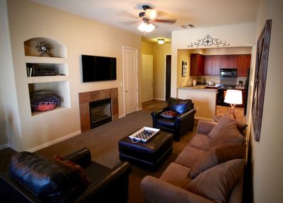 All the comforts of home in our living room.