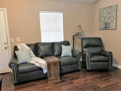 Living Area w/ Queen Innerspring Sofa Sleeper